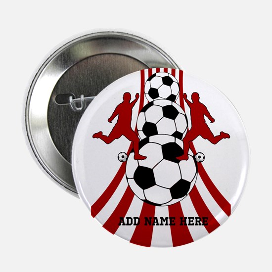 "Personalized Red White Soccer 2.25"" Button"