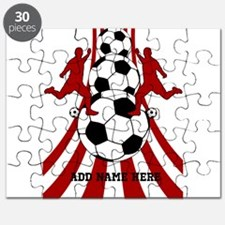 Personalized Red White Soccer Puzzle