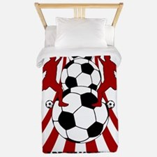 Personalized Red White Soccer Twin Duvet
