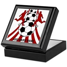 Personalized Red White Soccer Keepsake Box