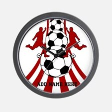 Personalized Red White Soccer Wall Clock