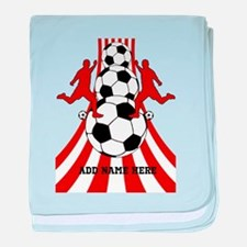 Personalized Red White Soccer baby blanket