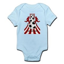 Personalized Red White Soccer Infant Bodysuit