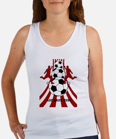 Personalized Red White Soccer Women's Tank Top
