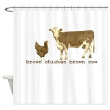 Brown Chicken Brown Cow Shower Curtain