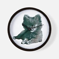 Adorable Black Pomeranian Puppy Wall Clock