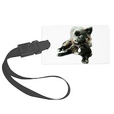 Adorable Black Pomeranian Puppy Luggage Tag
