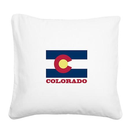 Colorado State Flag Square Canvas Pillow