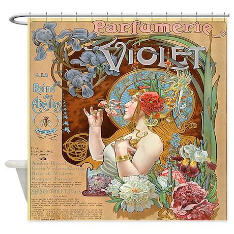 Vintage French Paris Violet Perfume Shower Curtain