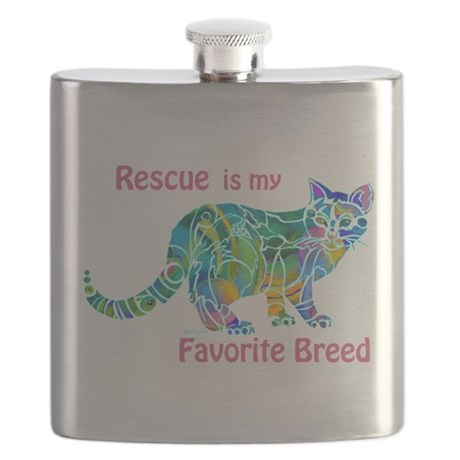 Rescue is Favorite Breed Multi Colors Flask