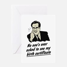 Romney Birth Certificate Greeting Card
