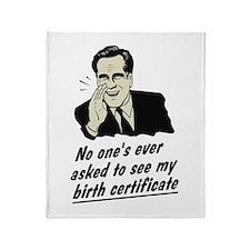 Romney Birth Certificate Throw Blanket