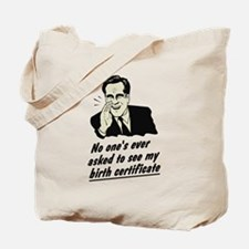 Romney Birth Certificate Tote Bag