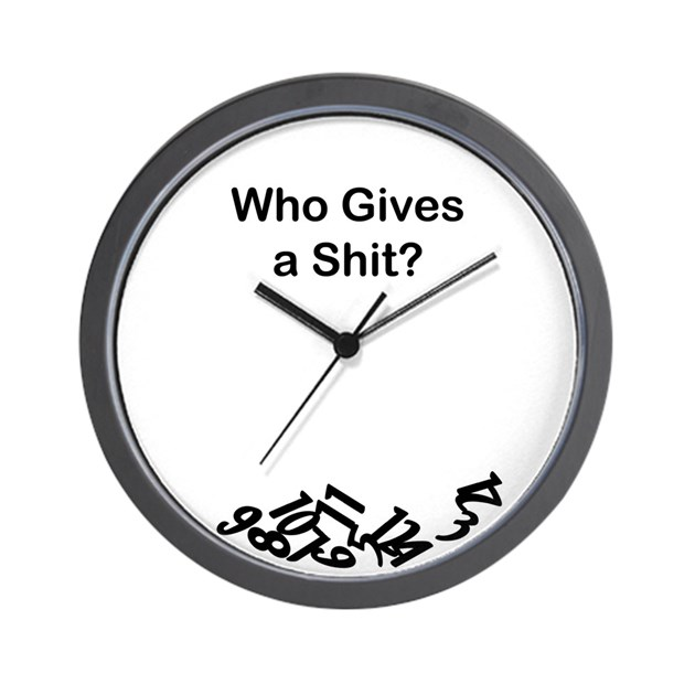 Who Gives A Shit Wall Clock By Uniquehumor