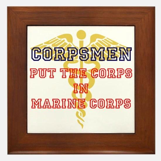 Marine Corps Corpsmen Framed Tile