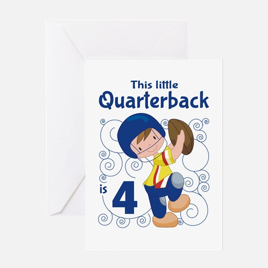 This Little Quarterback is 4 Greeting Card