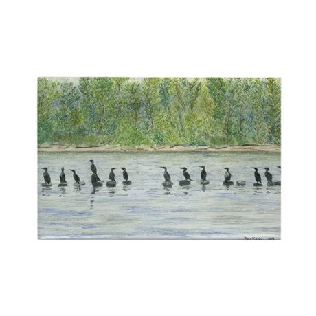 "bkArt ""cormorants"" Rectangle Magnet (10 pack)"