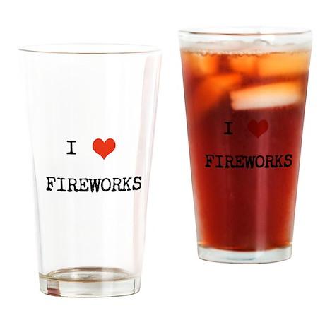 I heart fireworks Drinking Glass