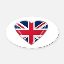 Union Jack Heart.png Oval Car Magnet