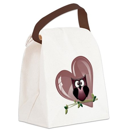 Red Heart Owl.png Canvas Lunch Bag
