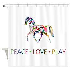 Rainbow Pony PEACE LOVE PLAY Shower Curtain