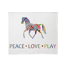 Rainbow Pony PEACE LOVE PLAY Throw Blanket