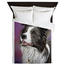 Pastel Painting of a Border Collie Queen Duvet