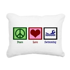 Peace Love Swimming Rectangular Canvas Pillow