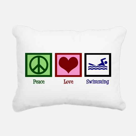 Peace Love Swimming Rectangular Canvas Pillow