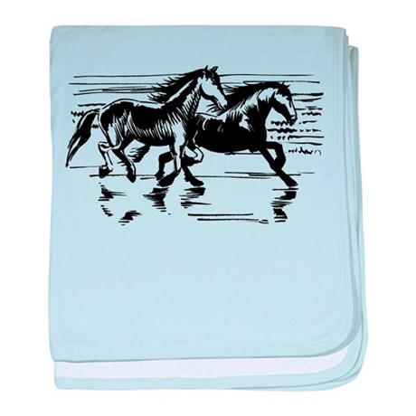HORSES ON BEACH baby blanket
