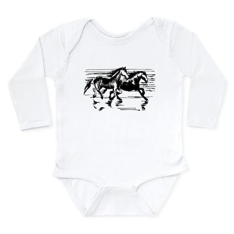 HORSES ON BEACH Long Sleeve Infant Bodysuit