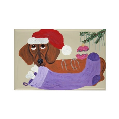 Dachshund With Christmas Stocking Rectangle Magnet