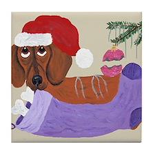 Dachshund With Christmas Stocking Tile Coaster