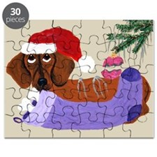 Dachshund With Christmas Stocking Puzzle