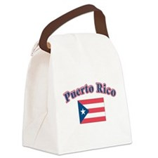 Puerto rico flag(blk).png Canvas Lunch Bag