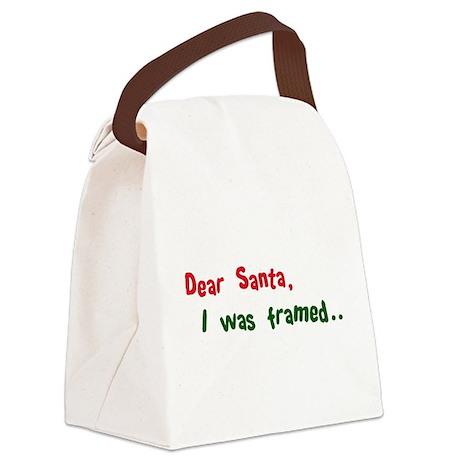 dear santa I was framed(blk).png Canvas Lunch Bag