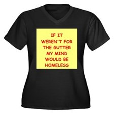 gutter mind Women's Plus Size V-Neck Dark T-Shirt