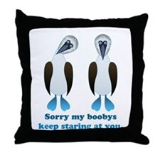 Pair of Boobys text Throw Pillow