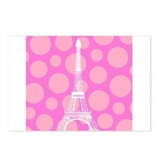 Eiffel Tower on Pink Dots Postcards (Package of 8)