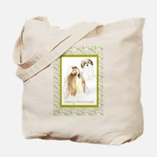 Shih Tzu Christmas Brown&White Tote Bag