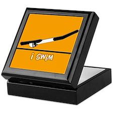 i swim (girl) solid orange Keepsake Box