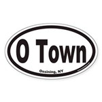 Ossining New York O Town Euro Oval Sticker