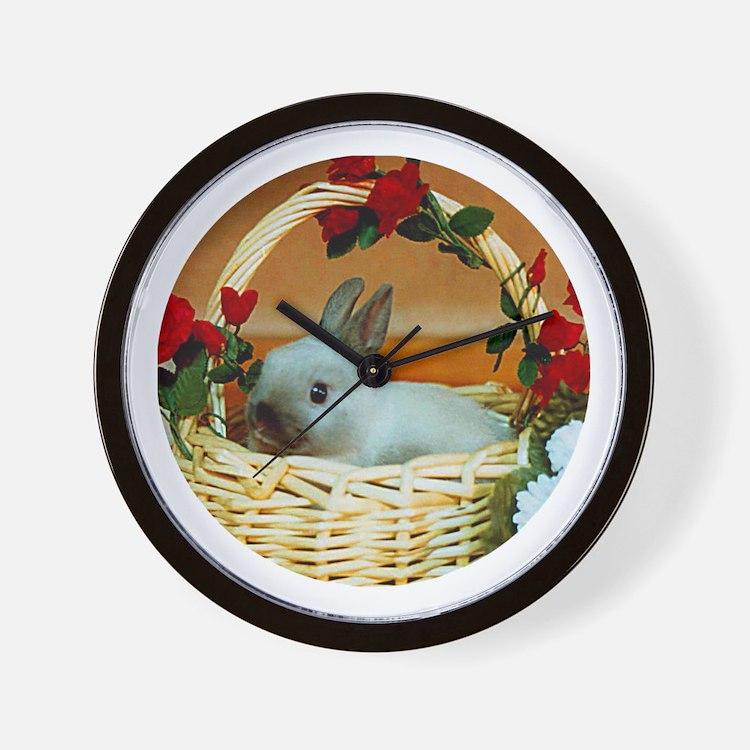 Basket Bunny Wall Clock