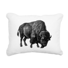 Vintage Bison Rectangular Canvas Pillow