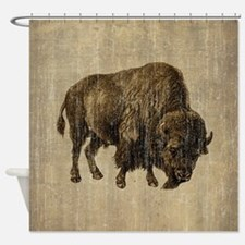 Vintage Bison Shower Curtain