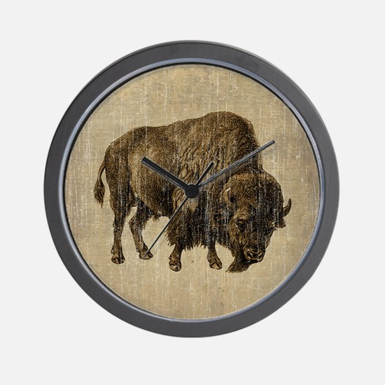 Vintage Bison Wall Clock