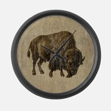 Vintage Bison Large Wall Clock