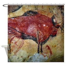 Vintage Bison Prehistoric Cave Painting Shower Cur