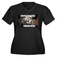 ERMAHGERD MERMER Women's Plus Size V-Neck Dark T-S