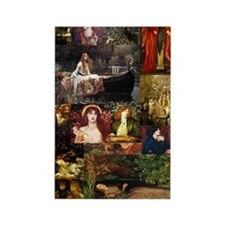 Pre-Raphaelite Collage Rectangle Magnet